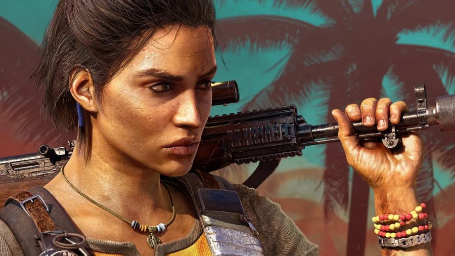 How long is Far Cry 6: Dani Rojas stands holding her gun on her shoulder and looking in the distance.
