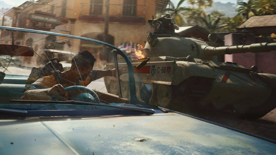 Far Cry 6 Ride Locations: Dani can be seen driving a car whilst avoiding a tank.