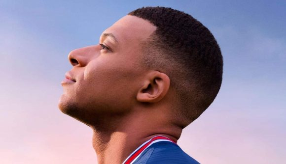 EA Sports FC: Mbappe can be seen staring at the sky in FIFA 22's key art.