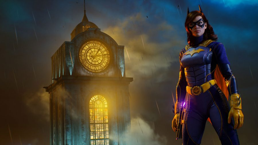 Batgirl can be seen standing in front of a large clocktower in the background.