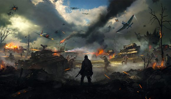 Hell Let Loose PS Plus experiment: A soldier stands on the battlefield as soldiers, tanks, and planes fight around him