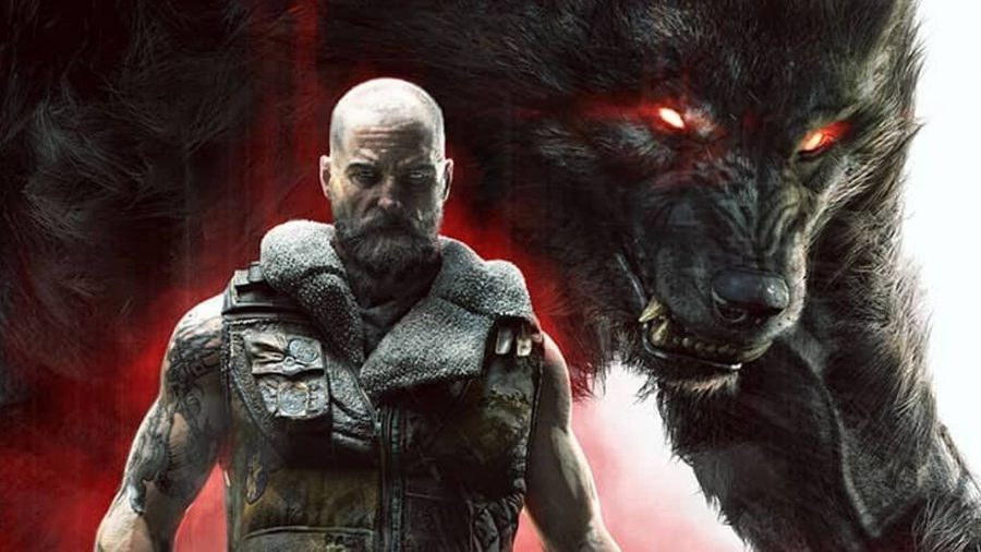 Cahal stands with a werewolf behind him in Werewolf: The Apocalypse - Earthblood's key art.