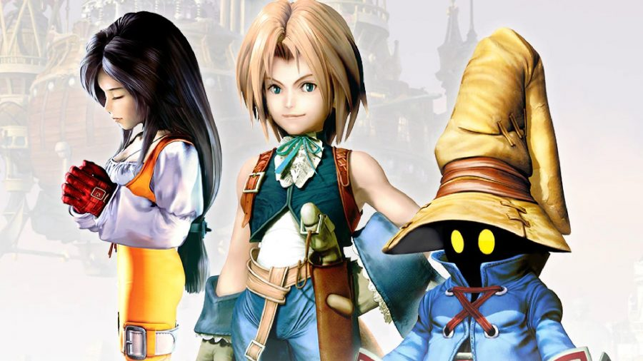 Three characters from Final Fantasy 9 stand in the game's key art.