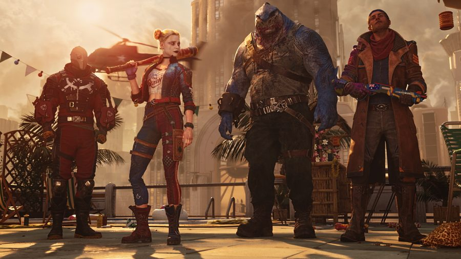 Suicide Squad: Kill The Justice League release date: Captain Boomerang, Harley, Deadshot, and King Shark can all be seen standing next to one another.