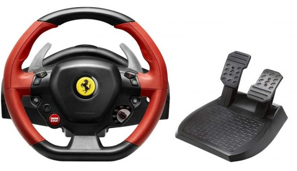 The Thrustmaster Ferrari Xbox One wheel and foot pedals side by side on a white background.