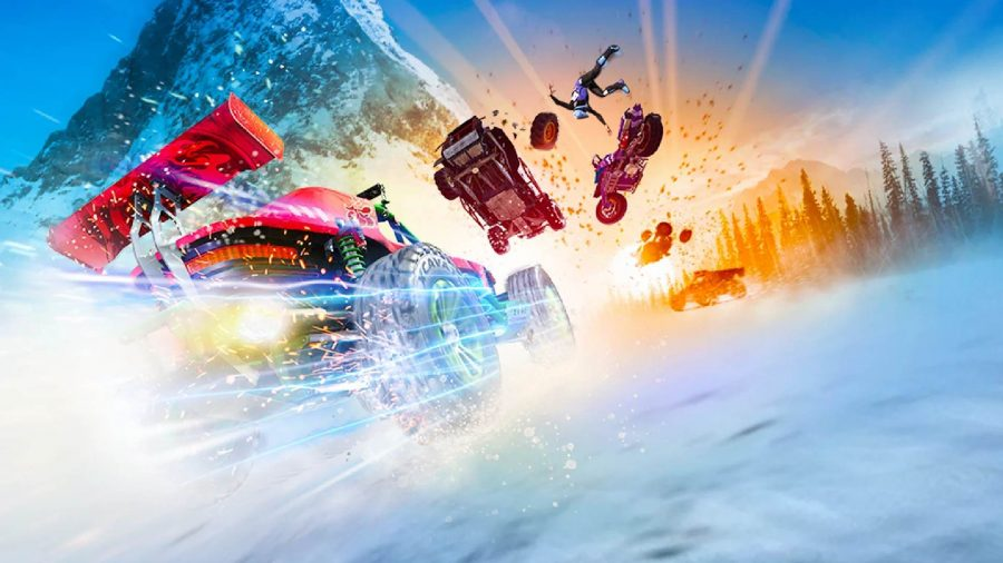 Multiple cars can be seen racing alongside one another in the Onrush key art.